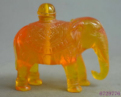collectible handwork amber carve lovely elephant auspicious fortune snuff bottle