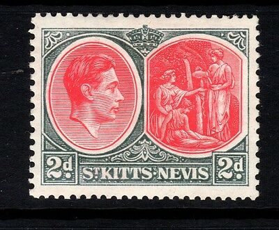 ST KITTS-NEVIS-1941 2d Scarlet & Grey Perf 13 x 12- Sg71a-lightly mounted mint