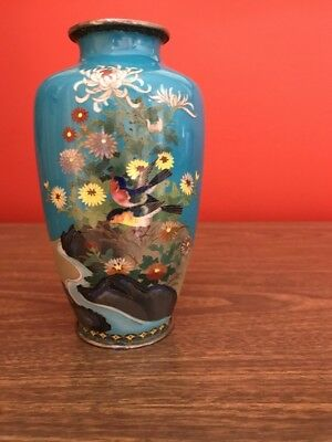 "Estate Auction 7 1/4"" Japanese enamel vase Birds & Flowers Cloisonne Blue"
