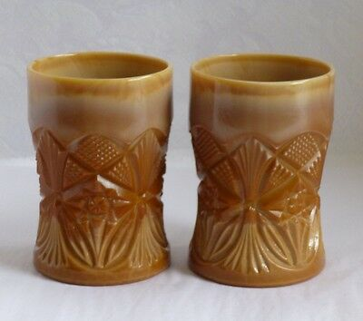Chocolate Glass Tumblers, pressed star and wheat pattern