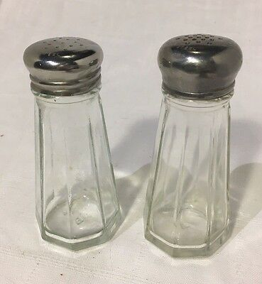 Vintage Classic Style Salt And Pepper Shakers Glass with Stainless Steel Lids