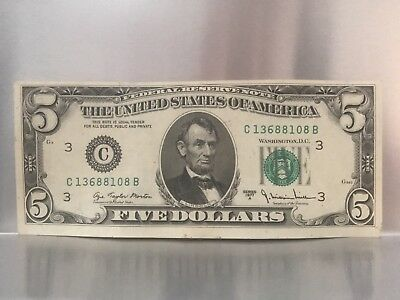 FRN 1977 A Five Dollar Bill Error-shift/misaligned Front And Back