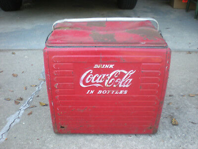 Vintage Mid Century Coca Cola metal Cooler- Great Barn Find