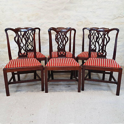Georgian Set of 6 Mahogany Dining Chairs - C1780 (George III Antique)
