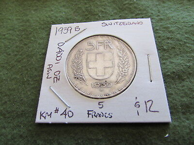 1939 B Switzerland 5 Franc Silver Coin Five Francs KM #40