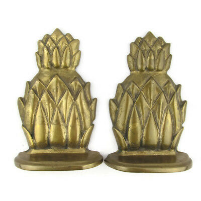"Vintage Pair Solid Brass Pineapple Bookends 6.25"" Home Decor Patina"