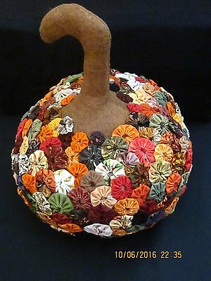 Primitive Large Pumpkin With Wool Top And Covered In Yo Yo's All The Fall Color'