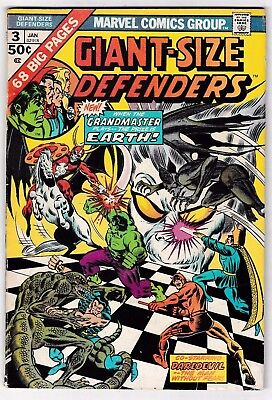 GIANT-SIZE DEFENDERS #3 (FN-) 1st Appearance of KORVAC! Big 68 Pages 1975 Marvel