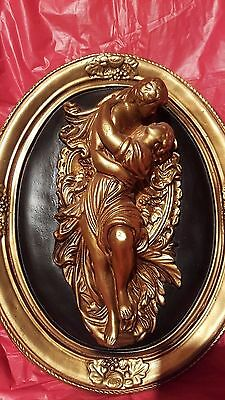 Italian Renaissance Styled Sculpture Man and woman kissing Romantic in Oval fram