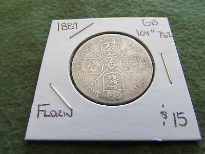 1889 Great Britain Silver Florin 2 Shillings Coin KM #762
