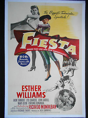 ESTHER WILLIAMS FIESTA 1947 Poster Linen backed US One Sheet