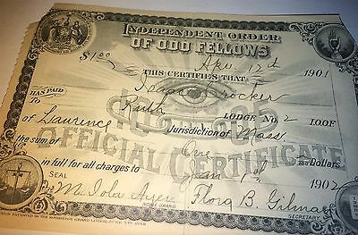 Antique Victorian American Odd Fellows Payment Receipt! C.1902 Mr. Crocker! Old!