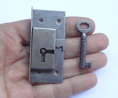 Vintage Small Half Mortise Lock Box Desk + Barrel Key Perfect for Drawer