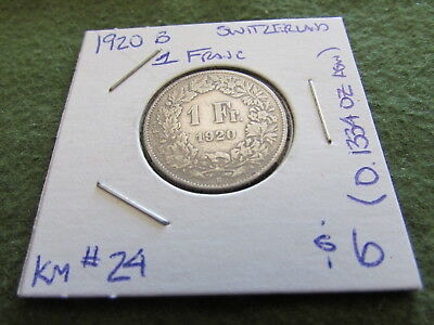 1920 B Switzerland 1 Franc Silver Coin One Francs KM #24