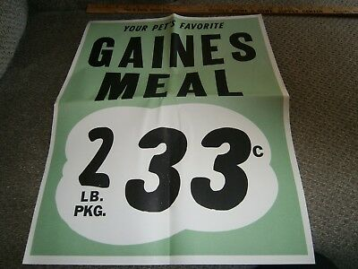 Vintage Grocery Store Window Ad 17 X 21 Gaines Meal Dog Food 2 Lb 33 Cents '50's