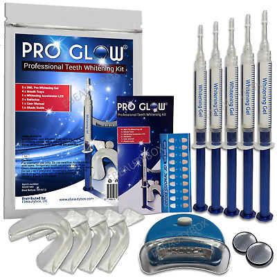 *NEW PRO GLOW® PROFESSIONAL TEETH WHITENING GEL KIT(15ml) +WHITENING LIGHT*