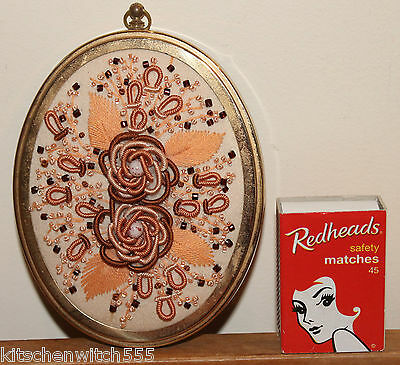 Vintage Brass Frame Oval Floral Silk Embroidery Knot Beads Needlework Hand Made