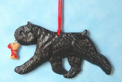 Bouvier Des Flandres-w/ bone charm-Artist sculpted Dog Breed Ornament