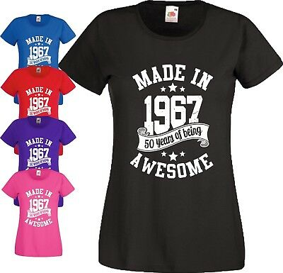 50th Birthday Gift T Shirt Made In 1967 Being Awesome 50 Years Ladies Tee Top