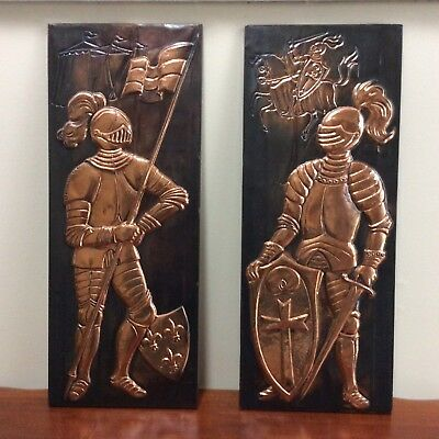 RETRO COPPER WALL PANELS HANGINGS x2 Medieval Knights in Battle Armor Swords