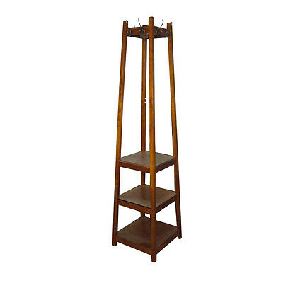 3 tier tower shoe/ coat rack combination brown finished