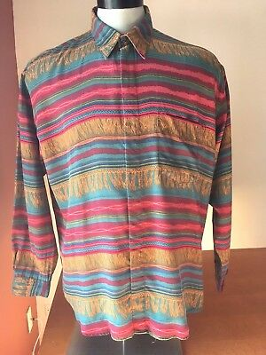 Vintage 90s PERRY ELLIS Shirt FUNKY Multi Color Abstract Pattern FRESH PRINCE