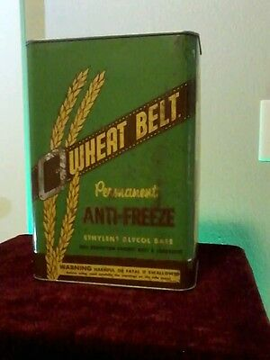 Vintage Wheat Belt 1 One Gallon Motor Oil Can Square Antifreeze Can Solder Seam