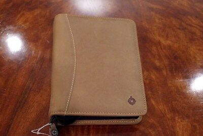 "Franklin Covey Compact Sandstone Leather Planner Binder Zipper, 1.25"" rings, NEW"