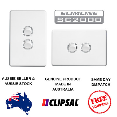 Clipsal Slimline10A 2 Gang Light Switch SC2032VA / HA