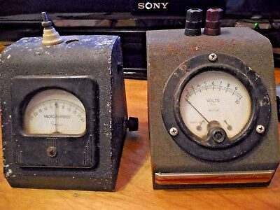 Simpson Electric Co. Milliamperes Panel Meter 0-25 + WESTON VOLTS AC 2 FOR ONE!