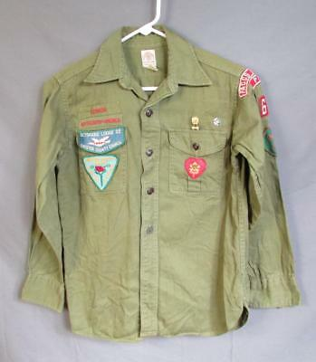 Vintage 1960s Boy Scout Official Uniform Shirt S Patches Chester Faggs Manor PA