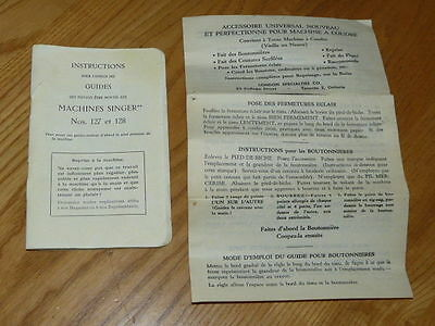 Vintage Singer 127 - 128 Sewing Machine French Manual