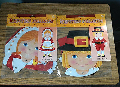 Jointed Pilgrims Hanging  Holiday Decorations Set