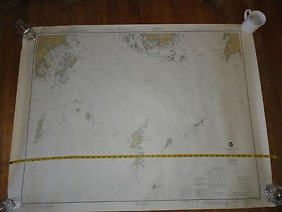 "LG Vintage 70s NAUTICAL chart MAINE APPROACHES TO PENOBSCOT BAY 47""x36""-sailing"