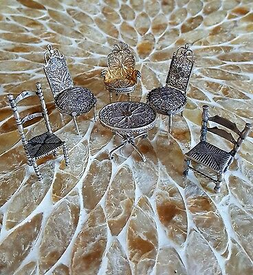 Antique Miniature Sterling Silver  Doll Furniture 1 Table 5 Chairs