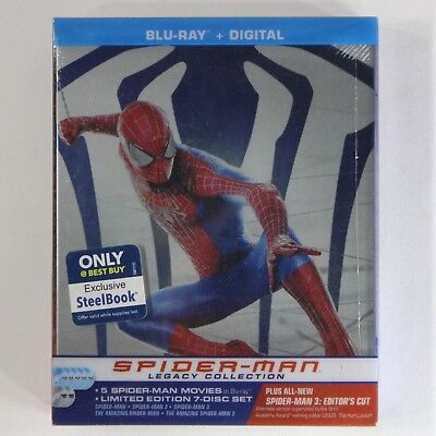Spider-Man Legacy Blu-ray Disc Steelbook Collection All 5 Spider-Man Movies