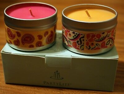 New in Box PartyLite 2 4.5 oz Candle Tin Gift Set. Nectartini & Cherry Orchard.