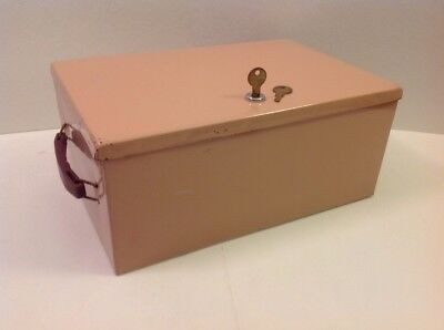 Vintage Metal Locking Storage Lock Box With Key Pink Double Handle