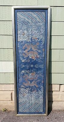 Rare Antique Chinese Silk Embroidered Panel Blue w/ Orange Dragons Imperial Robe