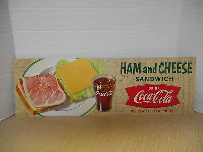 Vintage Coca Cola Cardboard Diner Sign With Ham And Cheese Sandwich # I-504