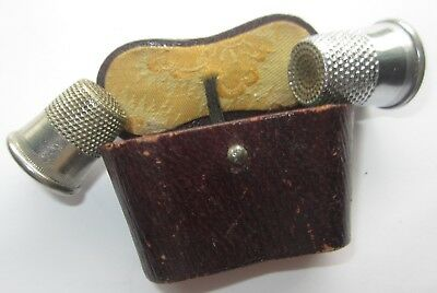 Antique Victorian Vtg Leather Sewing Double Thimble Case Box Holder Tool Thread