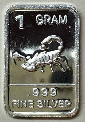 "Junk Drawer 1 Gram .999 Fine Solid Silver Bullion Artbar, New/Mint: "" SCORPION """