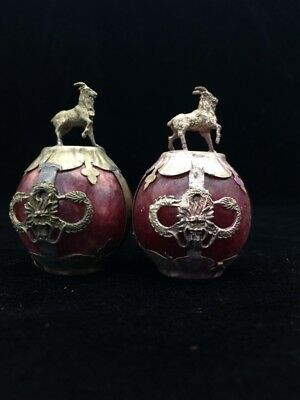 A pair of jade collection, Tibet silver hand carved statues of the flock