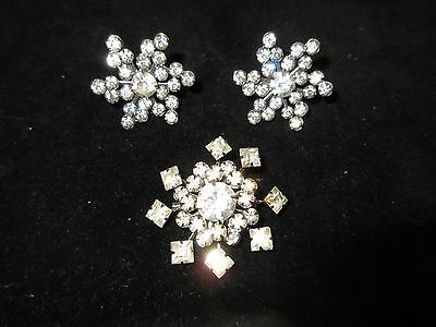 Vintage Set Brooch Pin Screw Back Earrings Statement Silver Tone Stars Shiny
