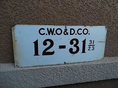 Nice Vintage C.W.O & D.CO.Porcelain Oil Well Lease Gas Sign.