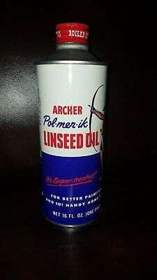 Vintage Copyright 1950's Archer Linseed Metal Oil Can