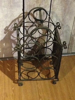 Black Wrought Iron Wine Rack, Holds Seven Bottles