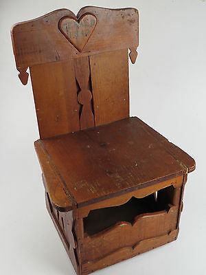 Vintage Folk Art Wood Stool Chair Bench Seat 1942 Hand Made Crafted Heart
