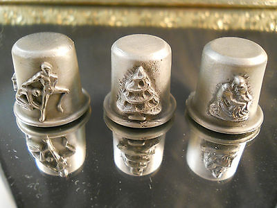 3 - Vintage Pewter Collectible Sewing Thimbles - Rawcliffe?