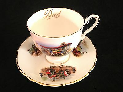 """Royal Stafford """"dad"""" Large Cup & Saucer Set Featuring Vintage Steam Trains"""